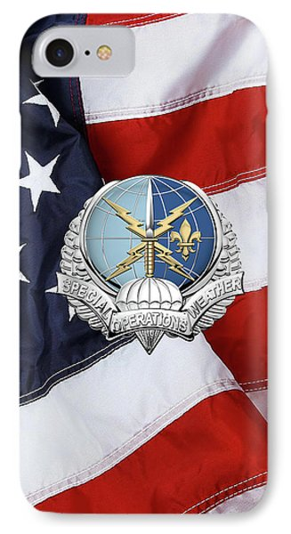 Special Operations Weather Team -  S O W T  Badge Over American Flag IPhone Case by Serge Averbukh