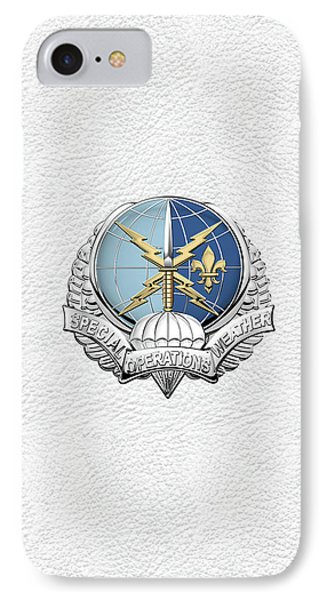Special Operations Weather Team -  S O W T  Badge Over White Leather IPhone Case by Serge Averbukh