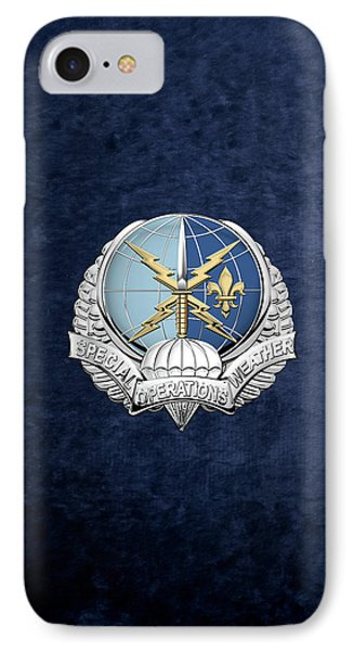 Special Operations Weather Team -  S O W T  Badge Over Blue Velvet IPhone Case by Serge Averbukh