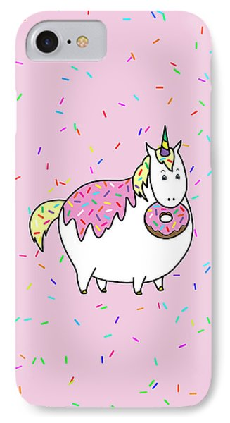 Chubby Unicorn Eating Sprinkle Doughnut IPhone Case