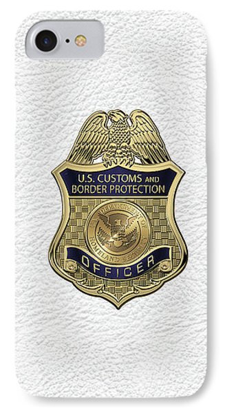 U. S.  Customs And Border Protection -  C B P  Officer Badge Over White Leather IPhone Case