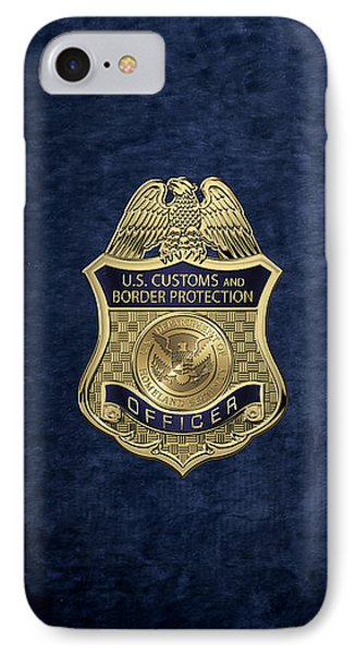 U. S.  Customs And Border Protection -  C B P  Officer Badge Over Blue Velvet IPhone Case