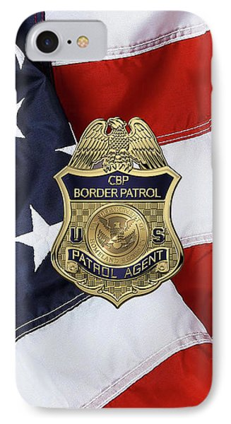 United States Border Patrol -  U S B P  Patrol Agent Badge Over American Flag IPhone Case