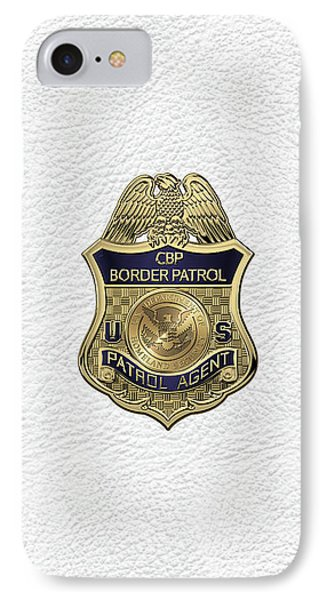 United States Border Patrol -  U S B P  Patrol Agent Badge Over White Leather IPhone Case