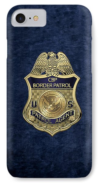 United States Border Patrol -  U S B P  Patrol Agent Badge Over Blue Velvet IPhone Case