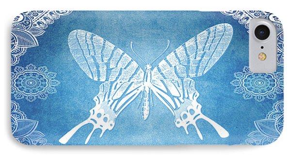 Bohemian Ornamental Butterfly Deep Blue Ombre Illustratration IPhone Case
