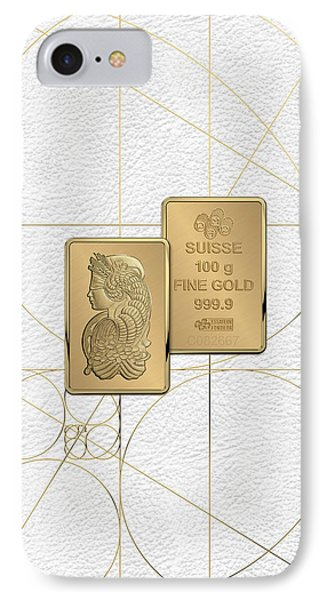 Fortuna Suisse Minted Gold Bar - Obverse And Reverse Over White Leather IPhone Case