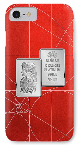 Fortuna Suisse Minted Platinum Bar - Obverse And Reverse Over Red Canvas IPhone Case