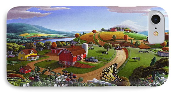 Folk Art Blackberry Patch Rural Country Farm Landscape Painting - Blackberries Rustic Americana IPhone Case