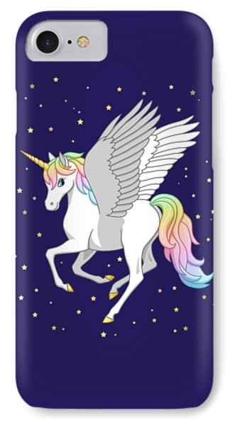 Pretty Rainbow Unicorn Flying Horse IPhone 7 Case