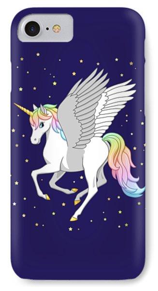 Pretty Rainbow Unicorn Flying Horse IPhone 7 Case