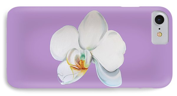 IPhone Case featuring the digital art Orchid On Lilac by Elizabeth Lock