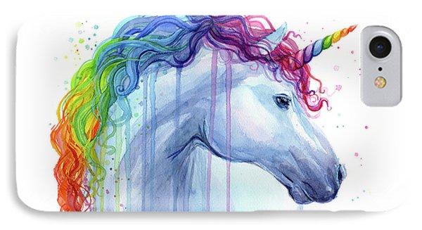Unicorn iPhone 7 Case - Rainbow Unicorn Watercolor by Olga Shvartsur