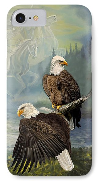 Eagels And Native American  Spirit Riders IPhone Case by Regina Femrite