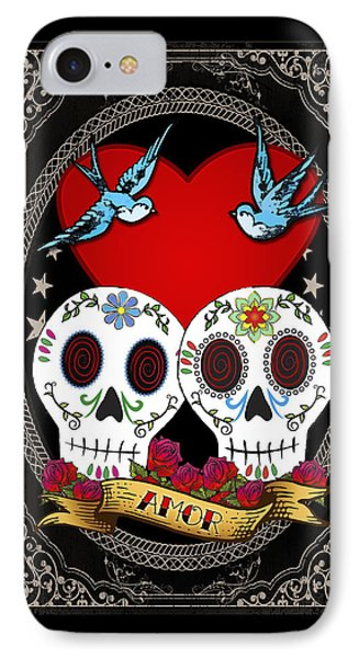 Bluebird iPhone 7 Case - Love Skulls II by Tammy Wetzel