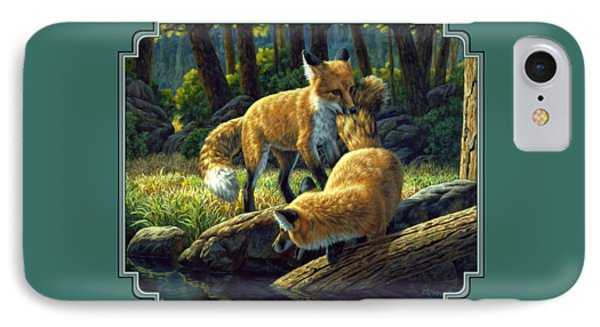 Red Foxes - Sibling Rivalry Phone Case by Crista Forest