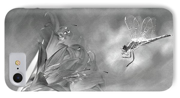 The Dragonfly And The Flower IPhone Case