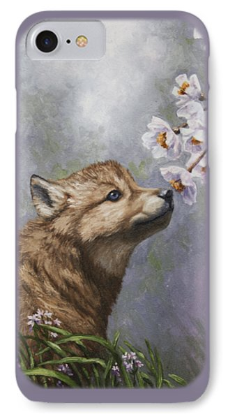 Wolf Pup - Baby Blossoms Phone Case by Crista Forest