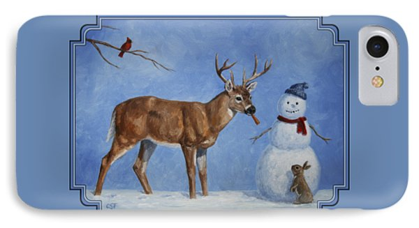 Whitetail Deer And Snowman - Whose Carrot? Phone Case by Crista Forest