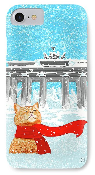 Cat With Scarf Phone Case by Carolina Matthes
