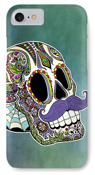 Mustache Sugar Skull Phone Case by Tammy Wetzel