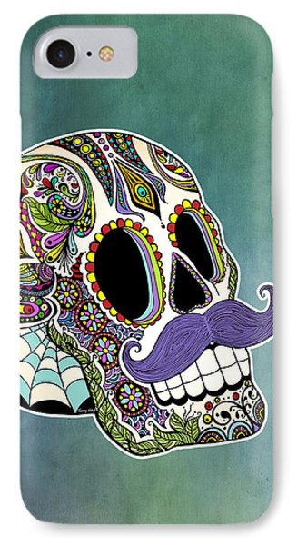 Mustache Sugar Skull IPhone Case by Tammy Wetzel