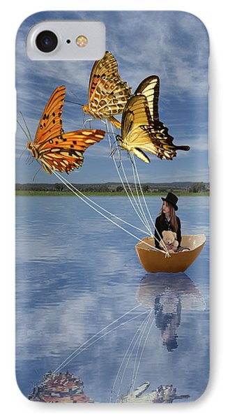 Butterfly Sailing IPhone Case by Linda Lees