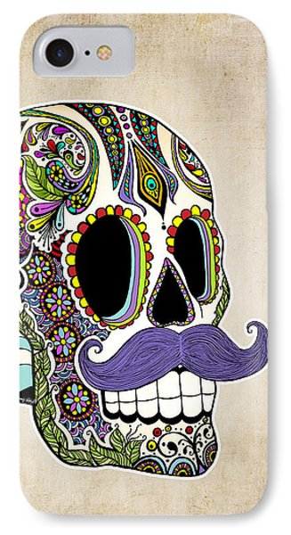 Mustache Sugar Skull Vintage Style IPhone Case by Tammy Wetzel