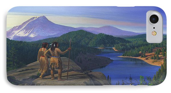 Native American Indian Maiden And Warrior Watching Bear Western Mountain Landscape Phone Case by Walt Curlee