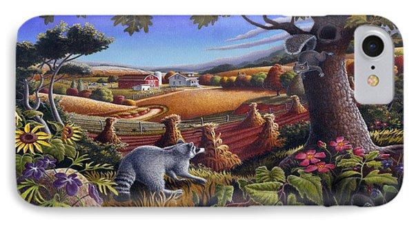 Rural Country Farm Life Landscape Folk Art Raccoon Squirrel Rustic Americana Scene  IPhone 7 Case