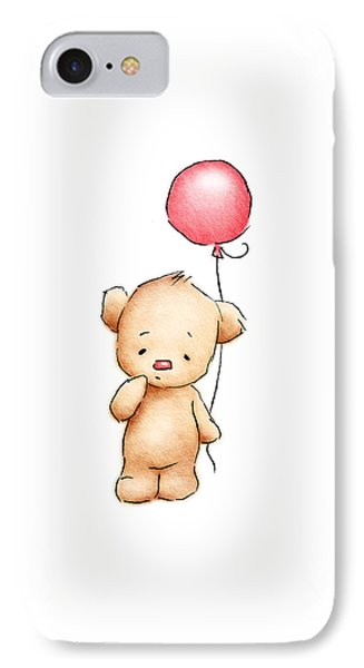 Teddy Bear With Red Balloon IPhone Case by Anna Abramska