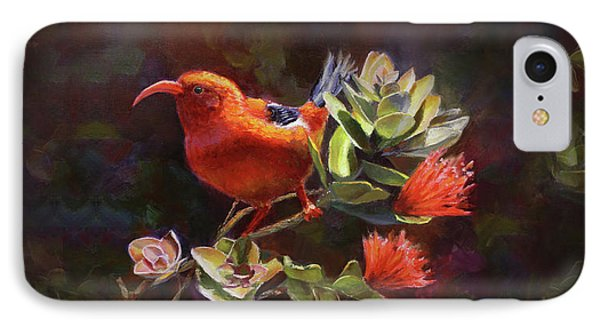 Hawaiian IIwi Bird And Ohia Lehua Flower IPhone Case