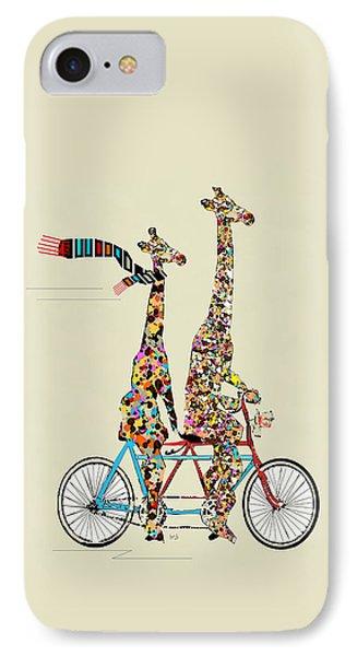 Transportation iPhone 7 Case - Giraffe Days Lets Tandem by Bri Buckley