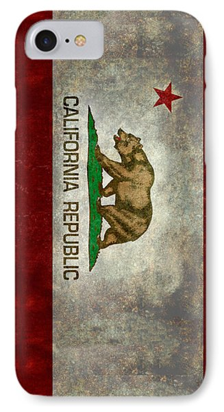 California Republic State Flag Retro Style IPhone Case by Bruce Stanfield