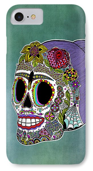 Catrina Sugar Skull IPhone Case by Tammy Wetzel