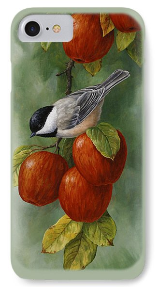 Bird Painting - Apple Harvest Chickadees IPhone 7 Case by Crista Forest