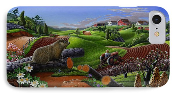 Farm Folk Art - Groundhog Spring Appalachia Landscape - Rural Country Americana - Woodchuck IPhone 7 Case by Walt Curlee
