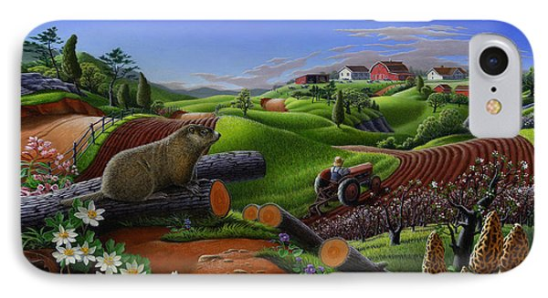 Farm Folk Art - Groundhog Spring Appalachia Landscape - Rural Country Americana - Woodchuck IPhone 7 Case
