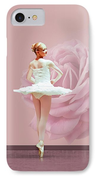 Ballerina In White With Pink Rose  Phone Case by Delores Knowles