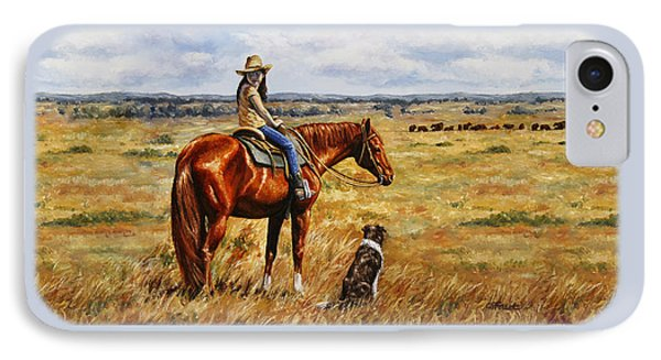 Horse Painting - Waiting For Dad Phone Case by Crista Forest