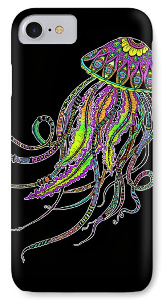 Electric Jellyfish On Black IPhone Case by Tammy Wetzel