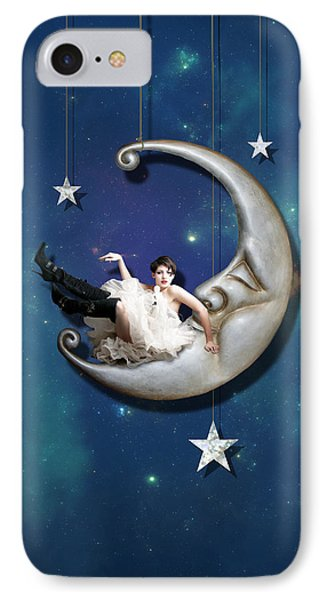 IPhone 7 Case featuring the digital art Paper Moon by Linda Lees