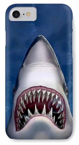 Jaws Great White Shark Art IPhone Case by Walt Curlee