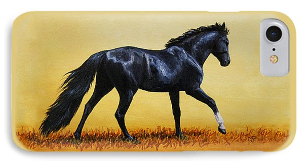 Horse Painting - Black Beauty IPhone Case by Crista Forest