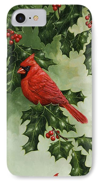 Cardinals Holiday Card - Version Without Snow Phone Case by Crista Forest
