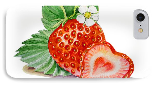 Artz Vitamins A Strawberry Heart IPhone Case by Irina Sztukowski