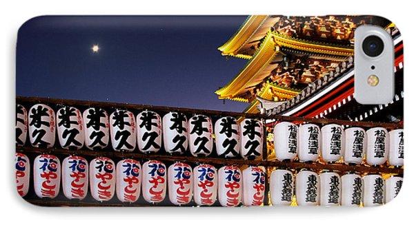 Asakusa Kannon Temple Pagoda And Lanterns At Night Phone Case by Christine Till
