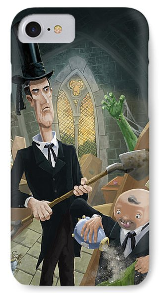 IPhone Case featuring the digital art Ashes Fun In The Funeral Crypt by Martin Davey