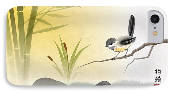 Asian Art Chickadee Landscape IPhone Case by John Wills