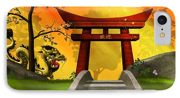 Asian Art Chinese Landscape  IPhone Case by John Wills